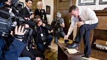 Shoe Shine politician recession Alberta